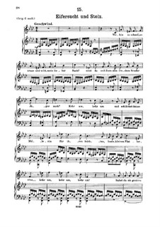 No.15 Eifersucht und Stolz (Jealousy and Pride): For medium voice and piano by Franz Schubert