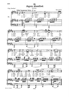 Huntsman's Evening Song, D.368 Op.3 No.4: For medium voice and piano by Franz Schubert