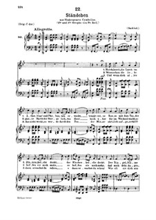 Serenade 'Horch, horch die Lerch im Ätherblau', D.889: For medium voice and piano by Franz Schubert