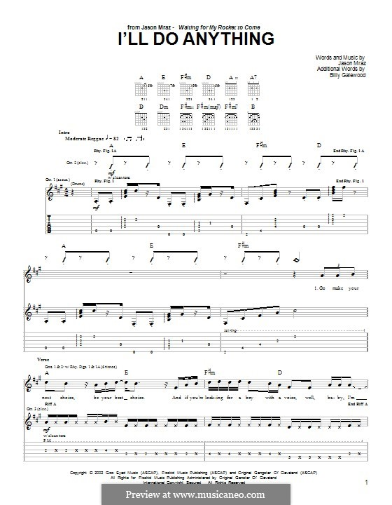 I'll do Anything: For guitar with tab by Jason Mraz