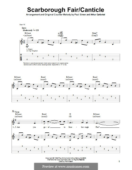 Scarborough Fair / Canticle: For guitar with tab by folklore