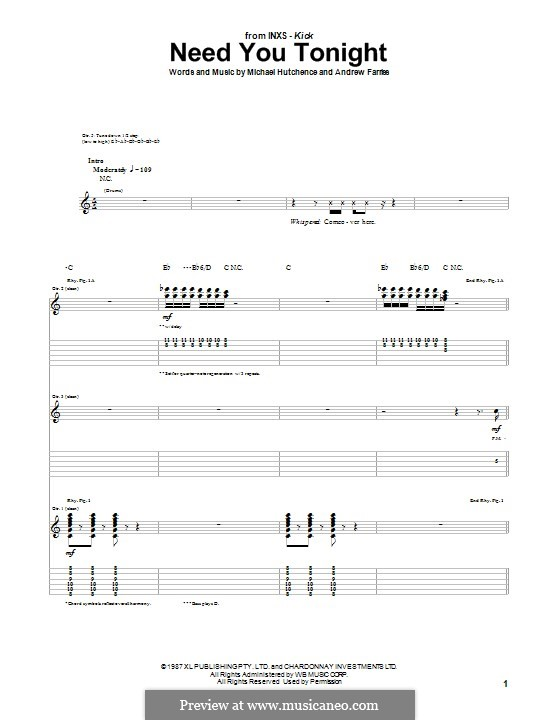 Need You Tonight (INXS): For guitar with tab by Andrew Farriss, Michael Hutchence
