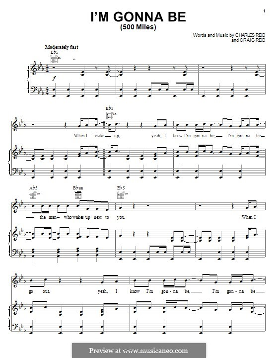 I\'m Gonna Be (500 Miles) by C. Reid, C. Reid - sheet music on MusicaNeo
