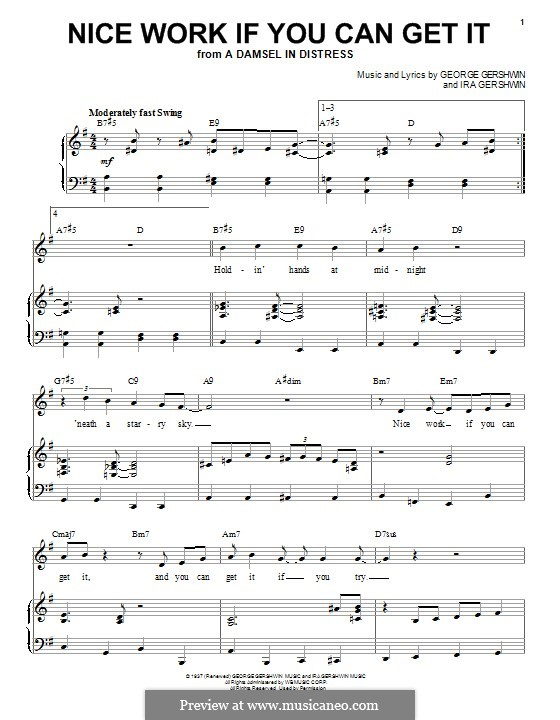 Nice Work if You Can Get It: For voice and piano (Frank Sinatra) by George Gershwin