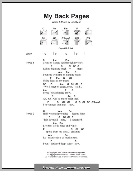 My Back Pages: Lyrics and chords by Bob Dylan