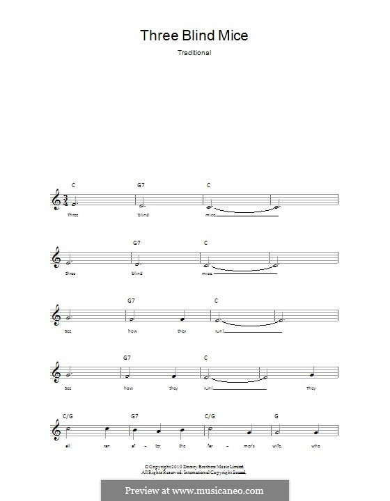 Three Blind Mice: Lyrics and chords by folklore
