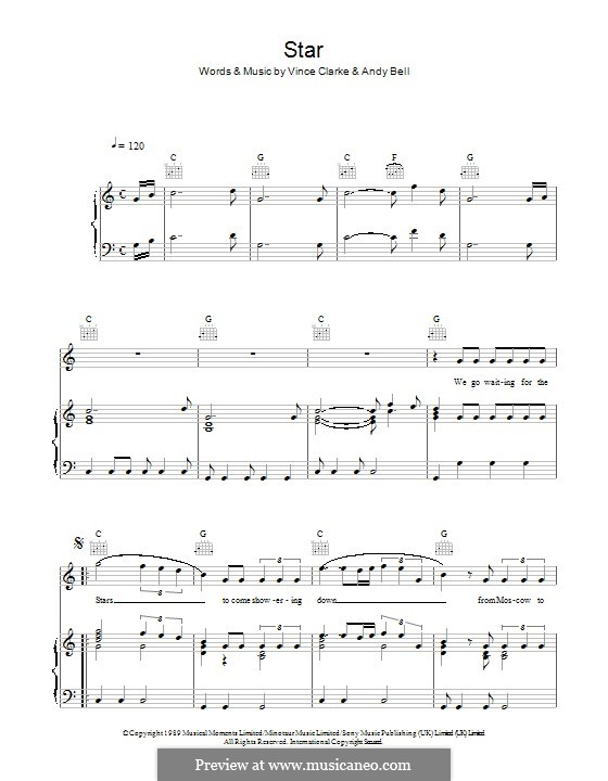 Star (Erasure): For voice and piano (or guitar) by Andy Bell, Vince Clarke