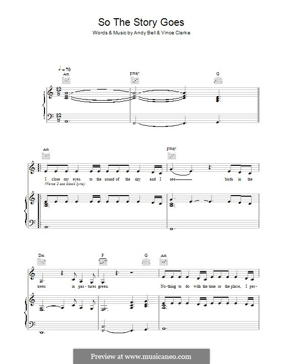 So the Story Goes (Erasure): For voice and piano (or guitar) by Andy Bell, Vince Clarke