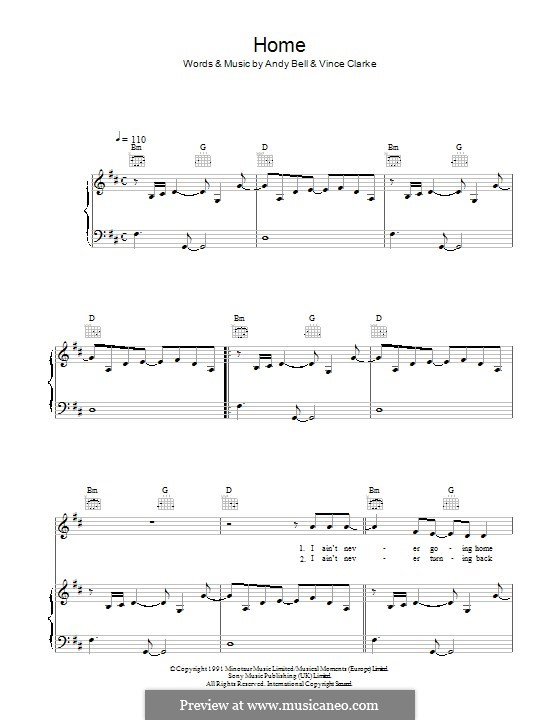 Home (Erasure): For voice and piano (or guitar) by Andy Bell, Vince Clarke