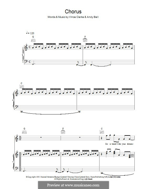 Chorus (Erasure): For voice and piano (or guitar) by Andy Bell, Vince Clarke