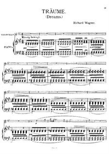 Wesendonck Songs, WWV 91: No.5 Dreams, for cello and piano by Richard Wagner