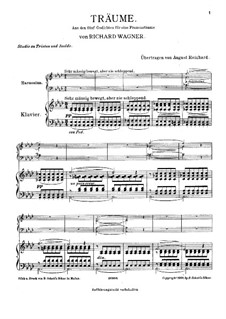 Wesendonck Songs, WWV 91: No.5 Dreams, for harmonium and piano by Richard Wagner