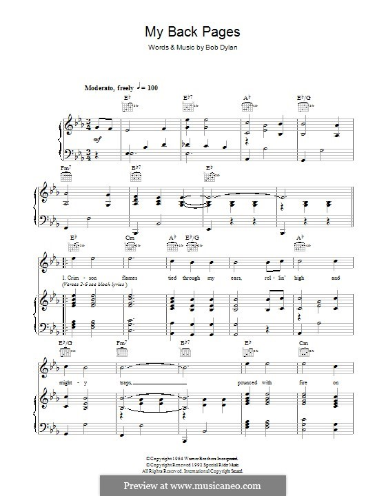 My Back Pages: For voice and piano (or guitar) by Bob Dylan