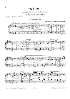 Wesendonck Songs, WWV 91: No.5 Dreams, for harmonium and piano – harmonium part by Richard Wagner