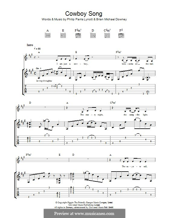Cowboy Song (Thin Lizzy): For guitar with tab by Brian Downey, Phil Lynott