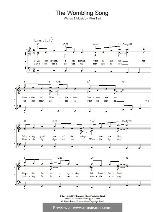 The Wombling Song: For piano by Mike Batt