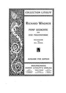 Wesendonck Songs, WWV 91: Complete set by Richard Wagner