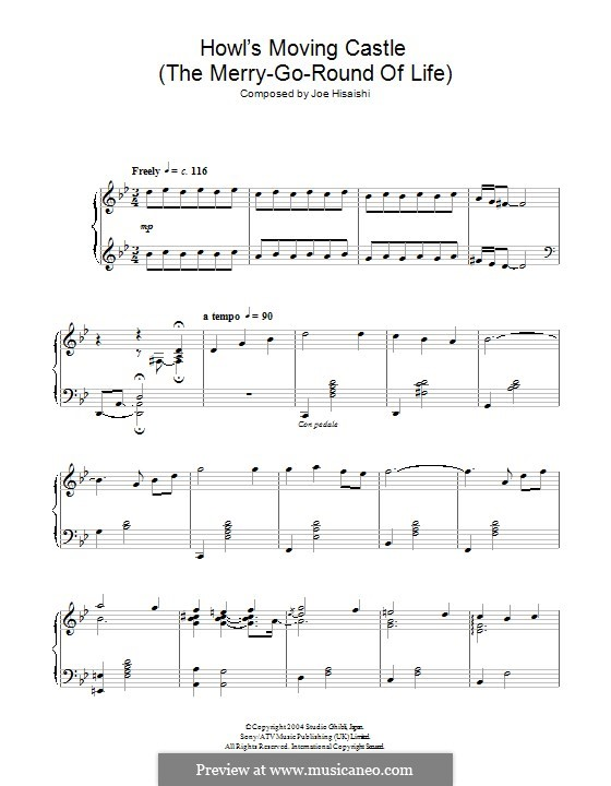 Howl's Moving Castle (The Merry-Go-Round of Life): For piano by Joe Hisaishi