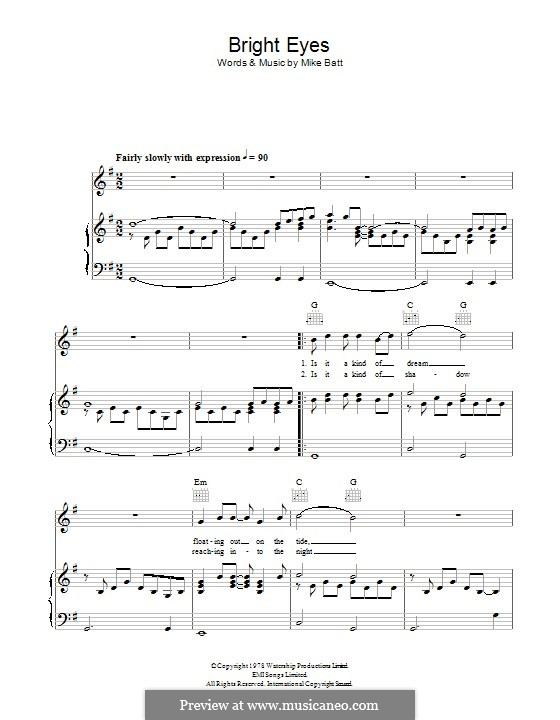 Bright Eyes: For voice and piano (or guitar) by Mike Batt