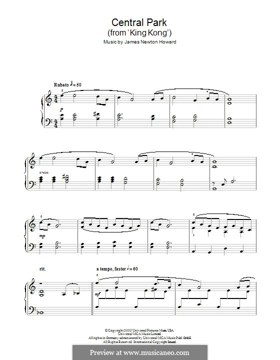 A Fateful Meeting/Central Park (from King Kong): For piano by James Newton Howard