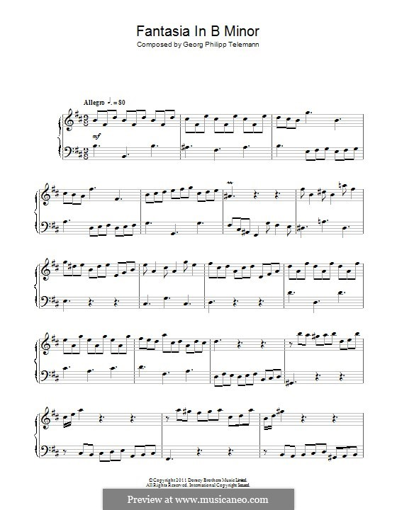 Fantasia in B Minor: For piano by Georg Philipp Telemann