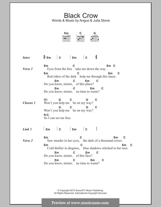 Black Crow: Lyrics and chords by Angus Stone, Julia Stone