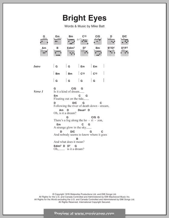 Bright Eyes: Lyrics and chords (Art Garfunkel) by Mike Batt