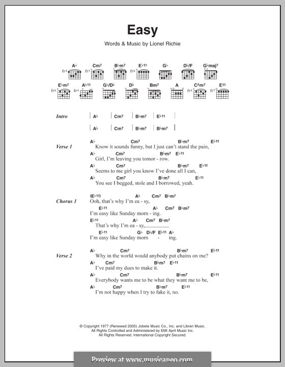 Easy (The Commodores): Lyrics and chords by Lionel Richie