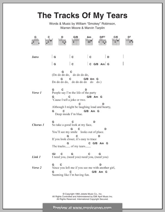 The Tracks Of My Tears The Miracles By M Tarplin Smokey Robinson