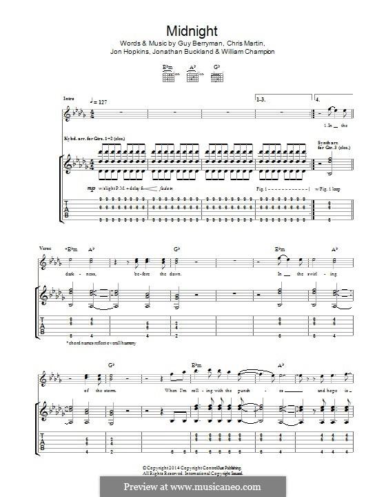 Midnight (Coldplay): For guitar with tab by Chris Martin, Guy Berryman, Jonny Buckland, Jon Hopkins, Will Champion