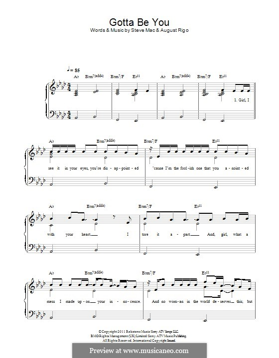 Gotta Be You (One Direction): For piano by August Rigo, Steve Mac