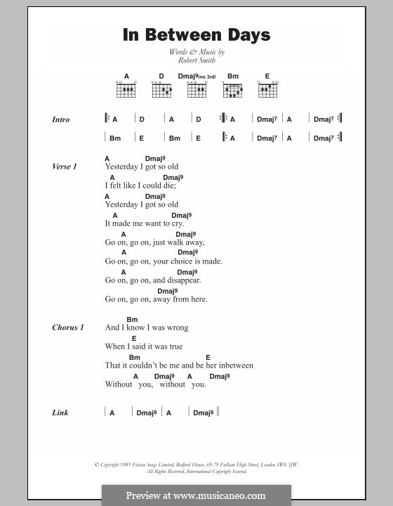 In Between Days (The Cure): Lyrics and chords by Robert Gary Smith