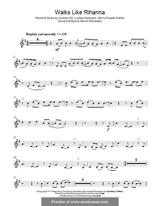 Walks Like Rihanna (The Wanted): For clarinet by Andrew Hill, Lukas Gottwald, Henry Russell Walter, Edvard Erfjord, Henrik Michelsen