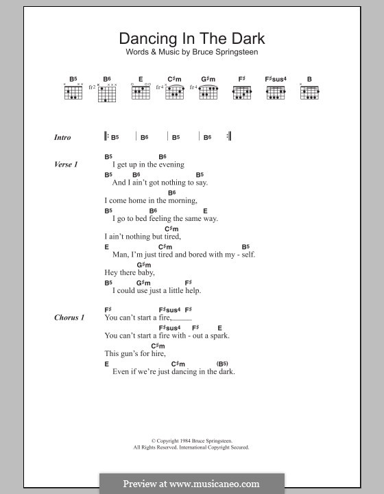 Dancing In The Dark By B Springsteen Sheet Music On Musicaneo