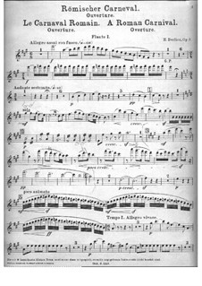 Le Carnaval Romain. Overture, H.95 Op.9: Flute I part by Hector Berlioz