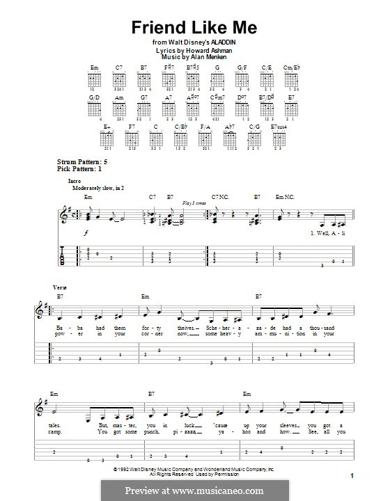 Friend Like Me (from Aladdin): For guitar with tab by Alan Menken