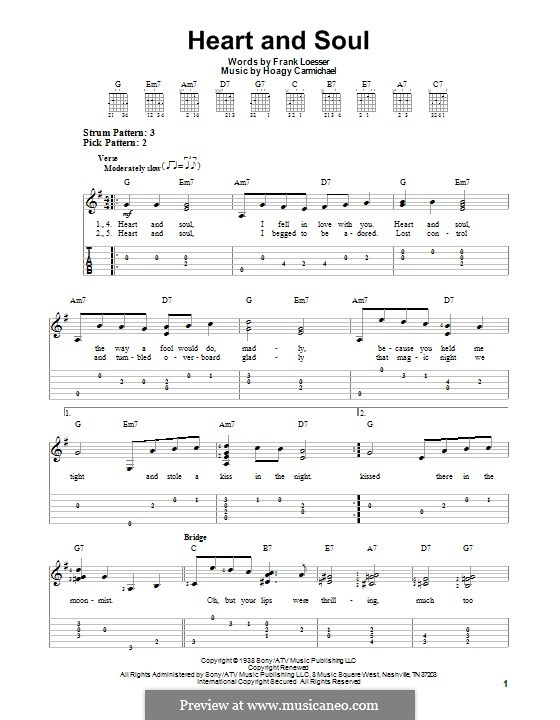 Heart and Soul: For guitar with tab by Hoagy Carmichael