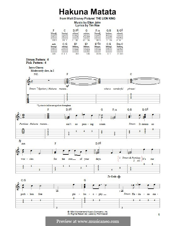 Hakuna Matata (from The Lion King): For guitar with tab by Elton John