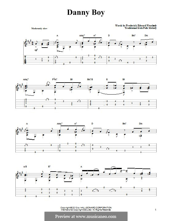 Danny Boy (Printable Scores): For guitar with tab by folklore