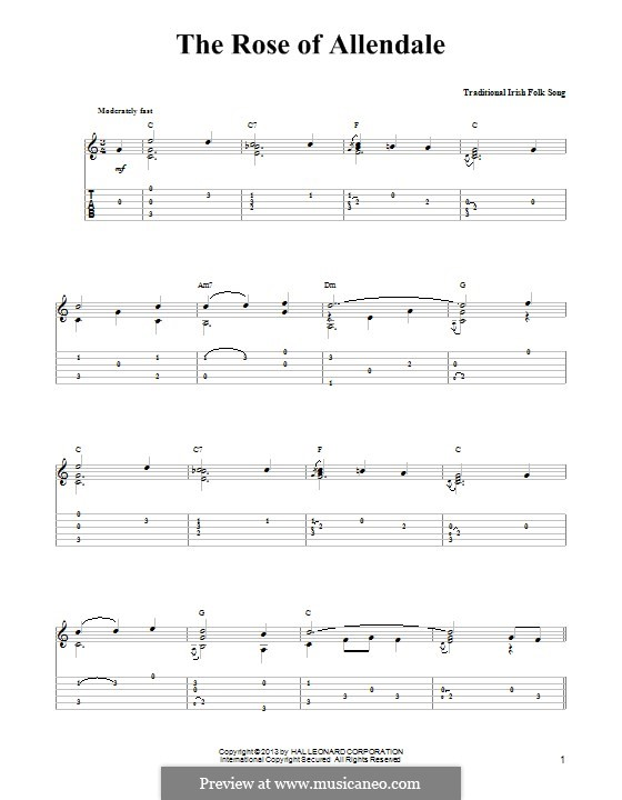 The Rose of Allendale: For guitar with tab by folklore