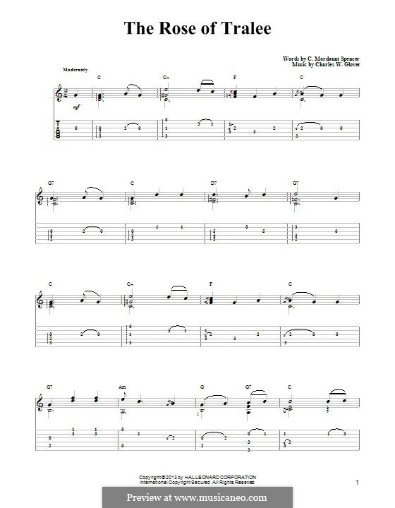 The Rose of Tralee: For guitar with tab by Charles William Glover