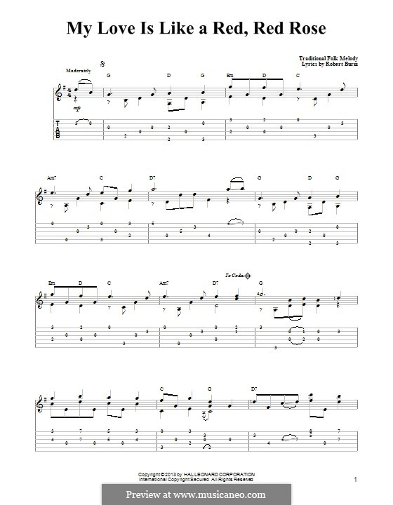 My Love is Like a Red, Red Rose: For guitar with tab by folklore