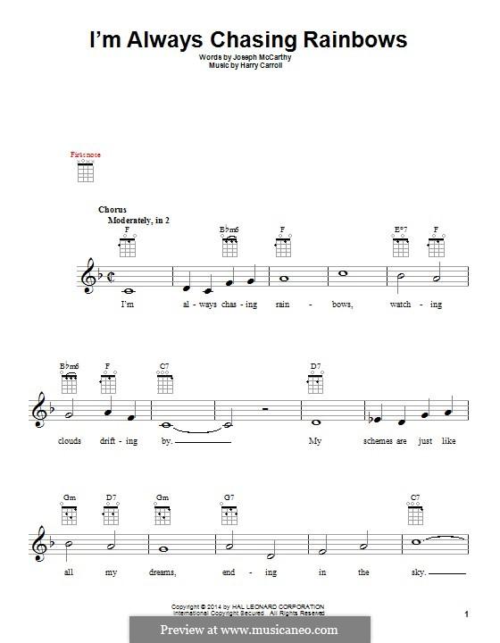 I'm Always Chasing Rainbows: For ukulele by Harry Carroll