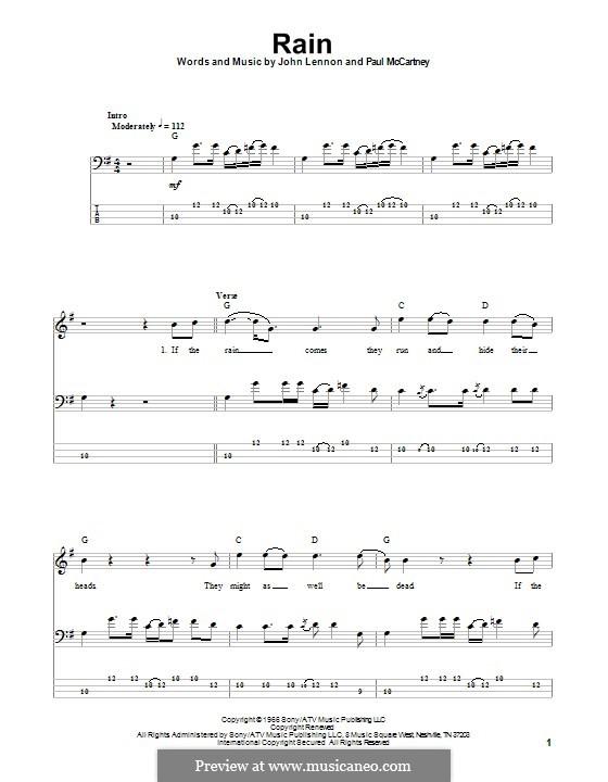 Rain (The Beatles): For bass guitar with tab by John Lennon, Paul McCartney
