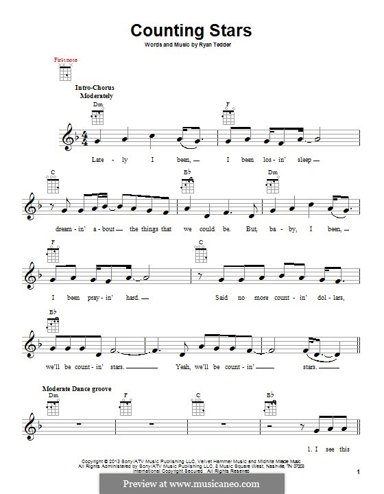 Counting Stars (One Republic): For ukulele by Ryan B Tedder
