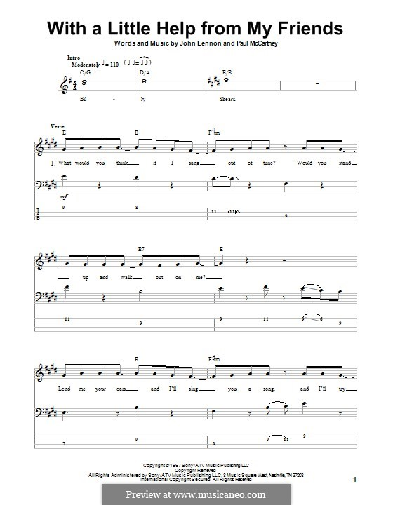 With a Little Help from My Friends (The Beatles): For bass guitar with tab by John Lennon, Paul McCartney