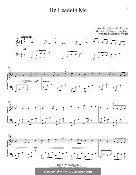 He Leadeth Me: For piano by William Batchelder Bradbury