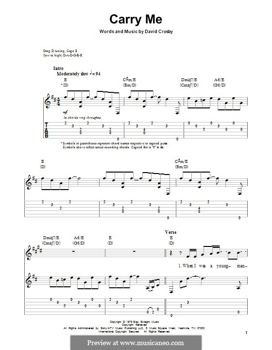 Carry Me (Crosby, Stills & Nash): For guitar with tab by David Crosby