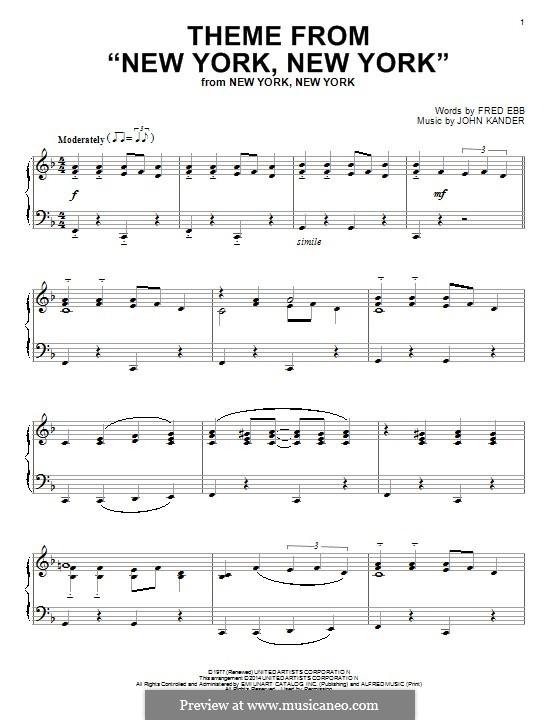 New York, New York (Frank Sinatra): For piano by John Kander
