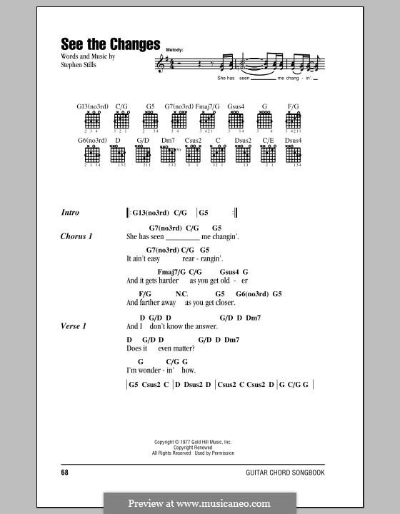 See the Changes (Crosby, Stills & Nash): Lyrics and chords by Stephen Stills